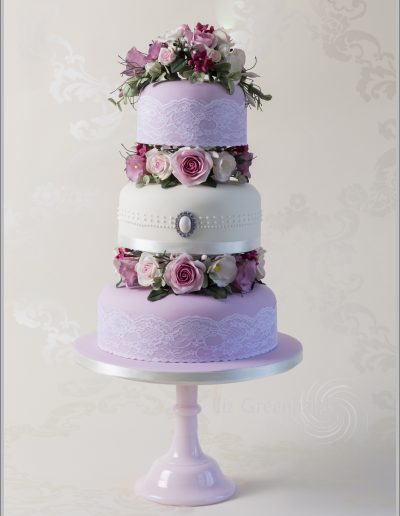 Pink & Ivory Sugar Roses Wedding Cake Cambridgeshire