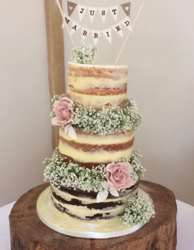 Naked Wedding Cake Bassmead Manor Barns Cambridgeshire