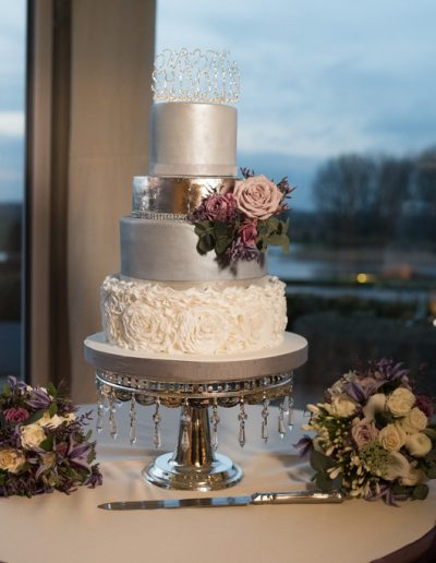White Ruffles Wedding Cake Silver and Grey accents