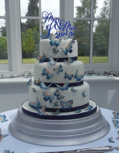 Blue Butterflies Wedding Cake Cambridgeshire