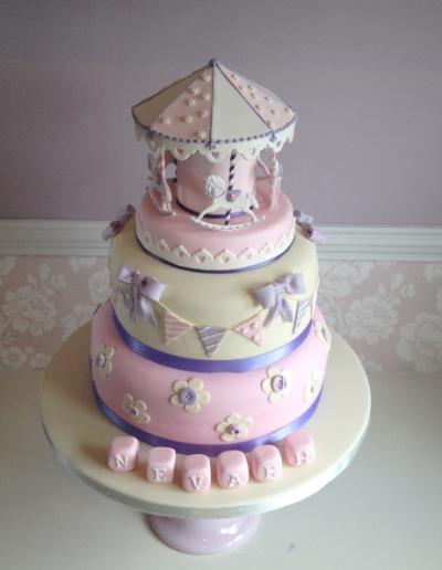 Carousel Pink Christening Cake