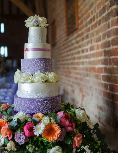 Lilac and Ivory Wedding Cake The Thatch Barn Yelling