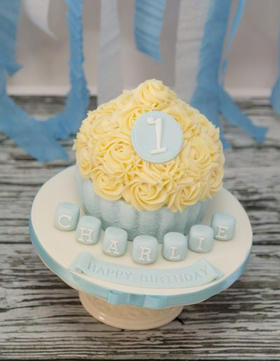 Pale Blue Boys 1stBirthday Giant Cupcake