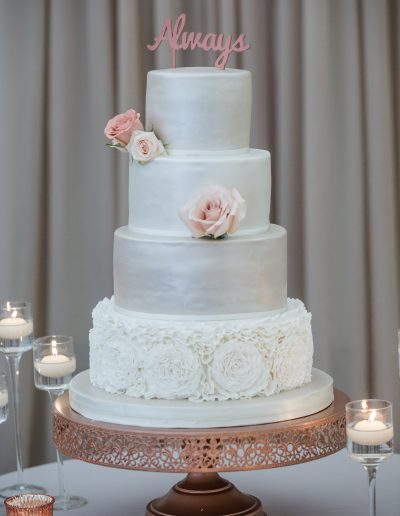 White Ruffles Rose Gold Wedding Cake