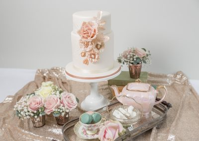 Rose Gold Blush Pink Wedding Cake Dessert Table Keen For cakes cambridgeshire