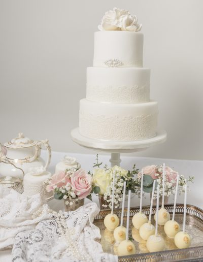 White Lace 3 Tier  Wedding Cake White Roses Cambridgeshire
