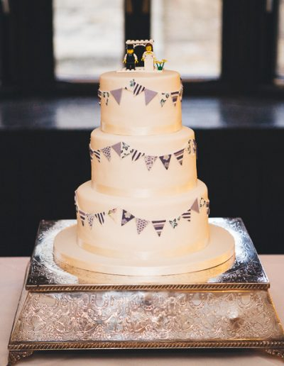 Navy Lilac Bunting Wedding Cake The Bell Stilton