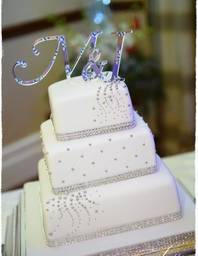Silver and White Diamante Wedding Cake The Marriott Hotel Huntingdon