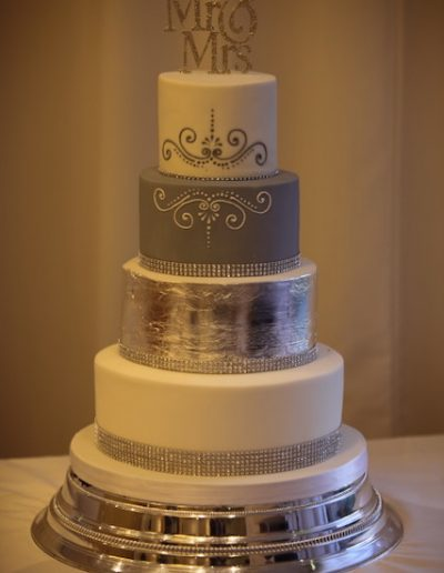 Silver Grey Diamante Wedding Cake Huntingdon