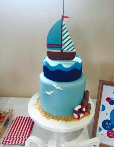 Sail Boat pale blue boys Christening birthday cake cambridgeshire
