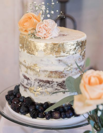 Semi Naked and Gold Wedding Cake