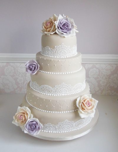 5 Tier Vintage lace and Roses wedding cake keen for Cakes Cambridgeshire