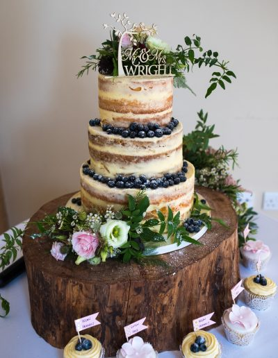 Semi Naked Wedding Cake Blueberries Bassmead Manor Barns Keen For Cakes Cambridgeshire