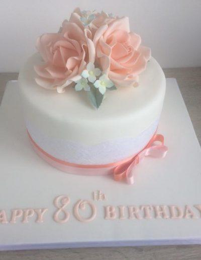 Peach Floral Birthday Cake