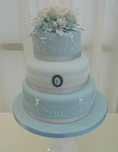 Pale Blue Wedding Cake The Secret Garden Burwash manor