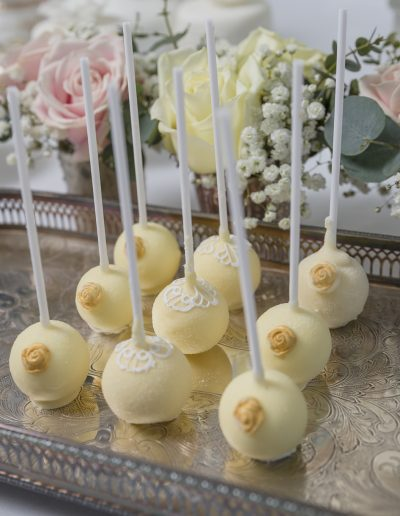 Ivory Lace Gold Rose Cake Pops Wedding Favours