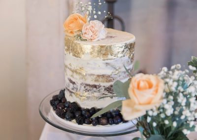 Semi Naked Column Cake With Gold Leaf