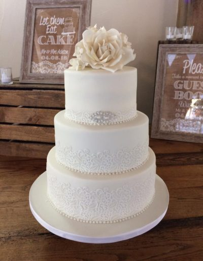 Ivory Lace and Roses Wedding Cake