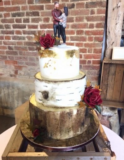 Autumn rustic log wedding cake