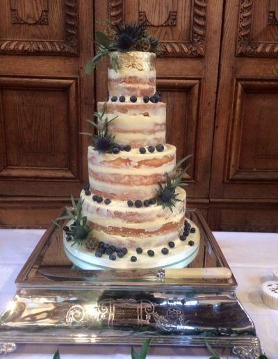 sea thistle 4 tier naked wedding