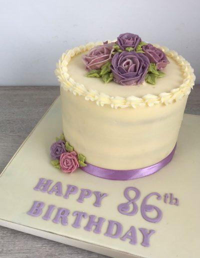 lilac roses birthday cake